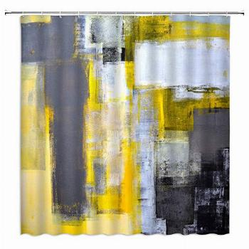 AMFD Gray and Yellow Shower Curtain Abstract Art Grunge