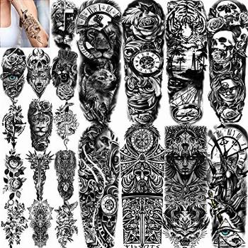 COKTAK 21 Sheets Extra Large Black Temporary Tattoos For