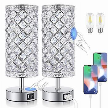 Crystal Table Lamps for bedrooms with Fast Dual USB Ports,