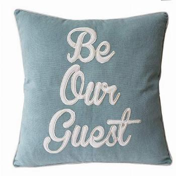 EURASIA DECOR Be Our Guest Embroidered Square Accent Throw