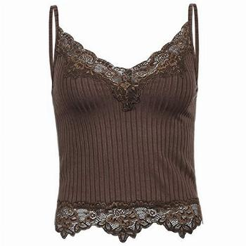 Lace Patchwork Brown Crop Top Y2k Clothes Fairy Grunge Style