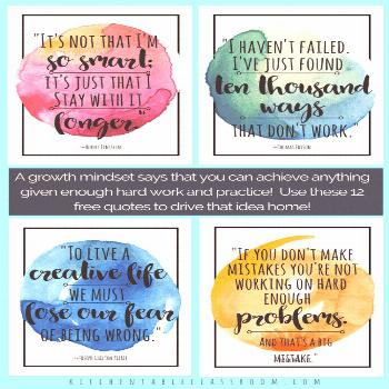 These free watercolor growth mindset quotes for kids are a great reminder to keep trying! Growth qu
