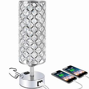 Touch Control Crystal Table Desk Lamp with Dual Fast Quick