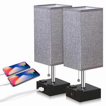 ZEEFO USB Table Lamp, Gray Square Fabric Shade Bedside Table