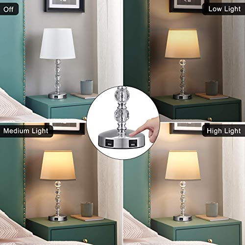 Acaxin 17 Cute Crystal Table Bedside Lamp Set of 2 with 2