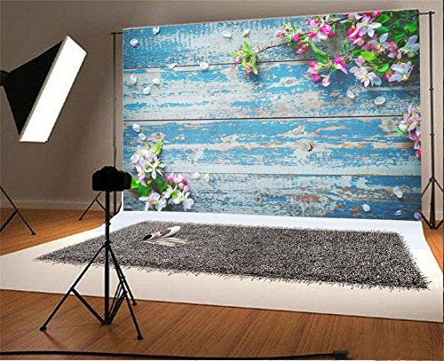 AOFOTO 5x3ft Flower Branch and Floral Petal on Old Wooden