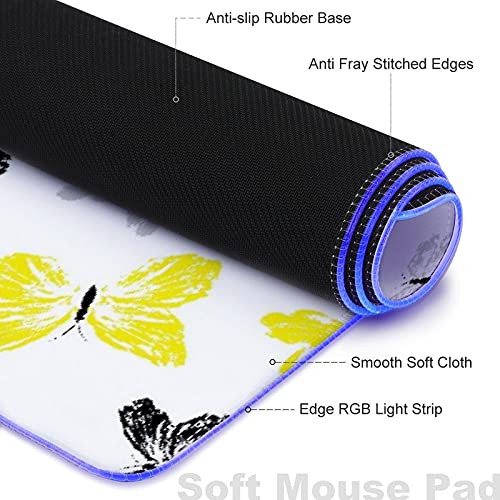 MISCERY Glowing Mouse Pad,Hand-Drawn Illustration of Flying